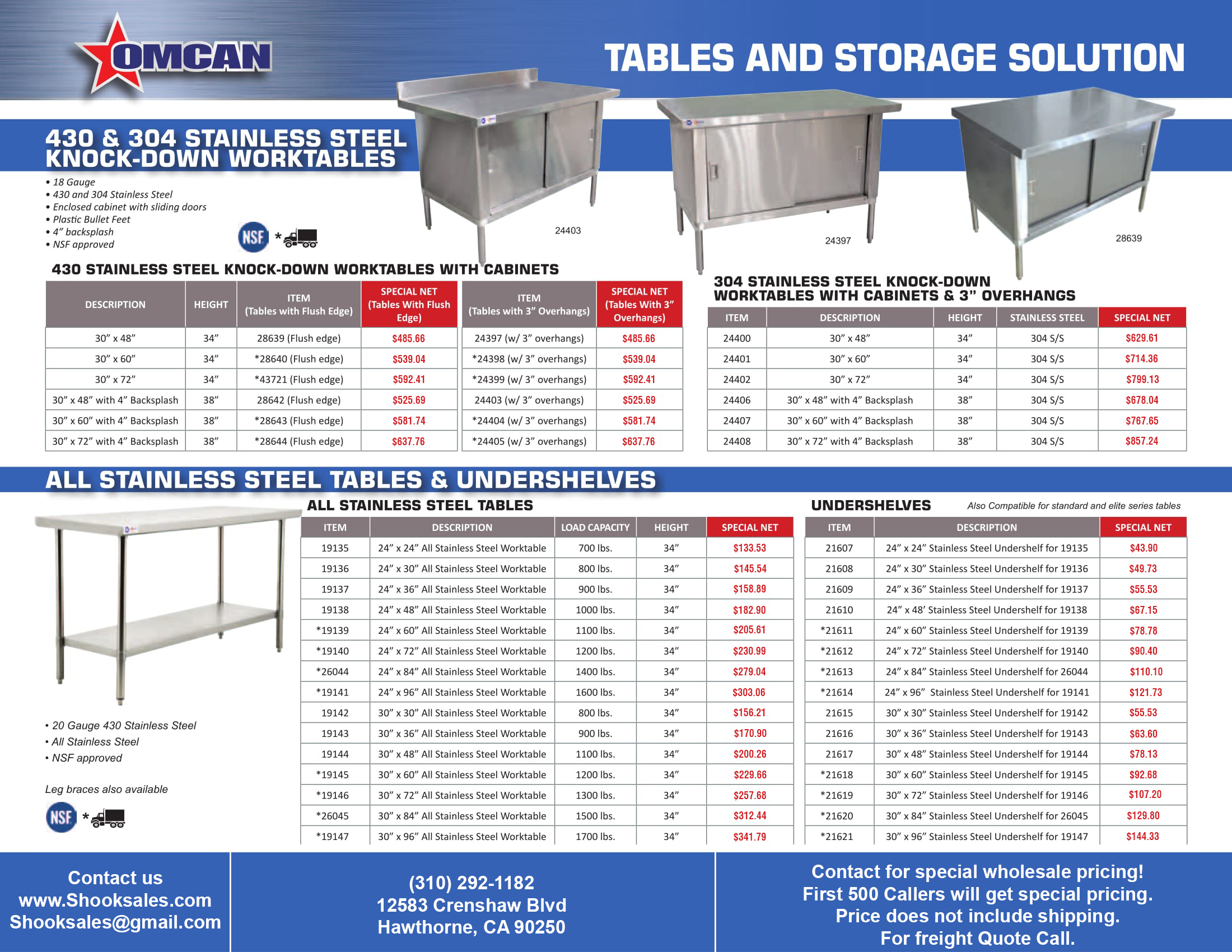 Tables And Storage Units